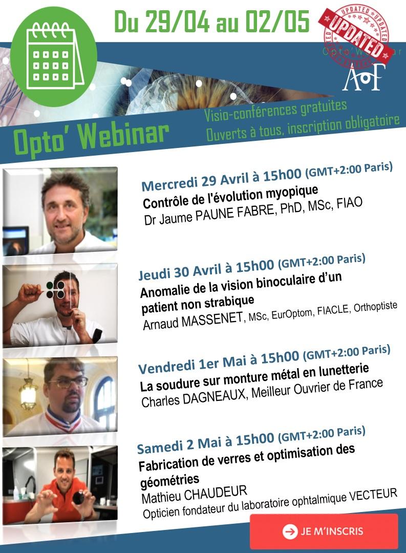 | OPTO'WEBINAR | Découvrez le programme du 29/04 au 02/05