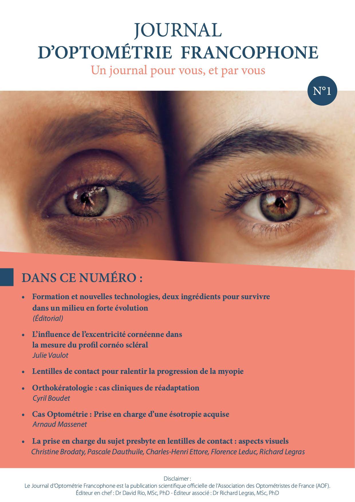 Premier numéro du Journal d'Optométrie Francophone