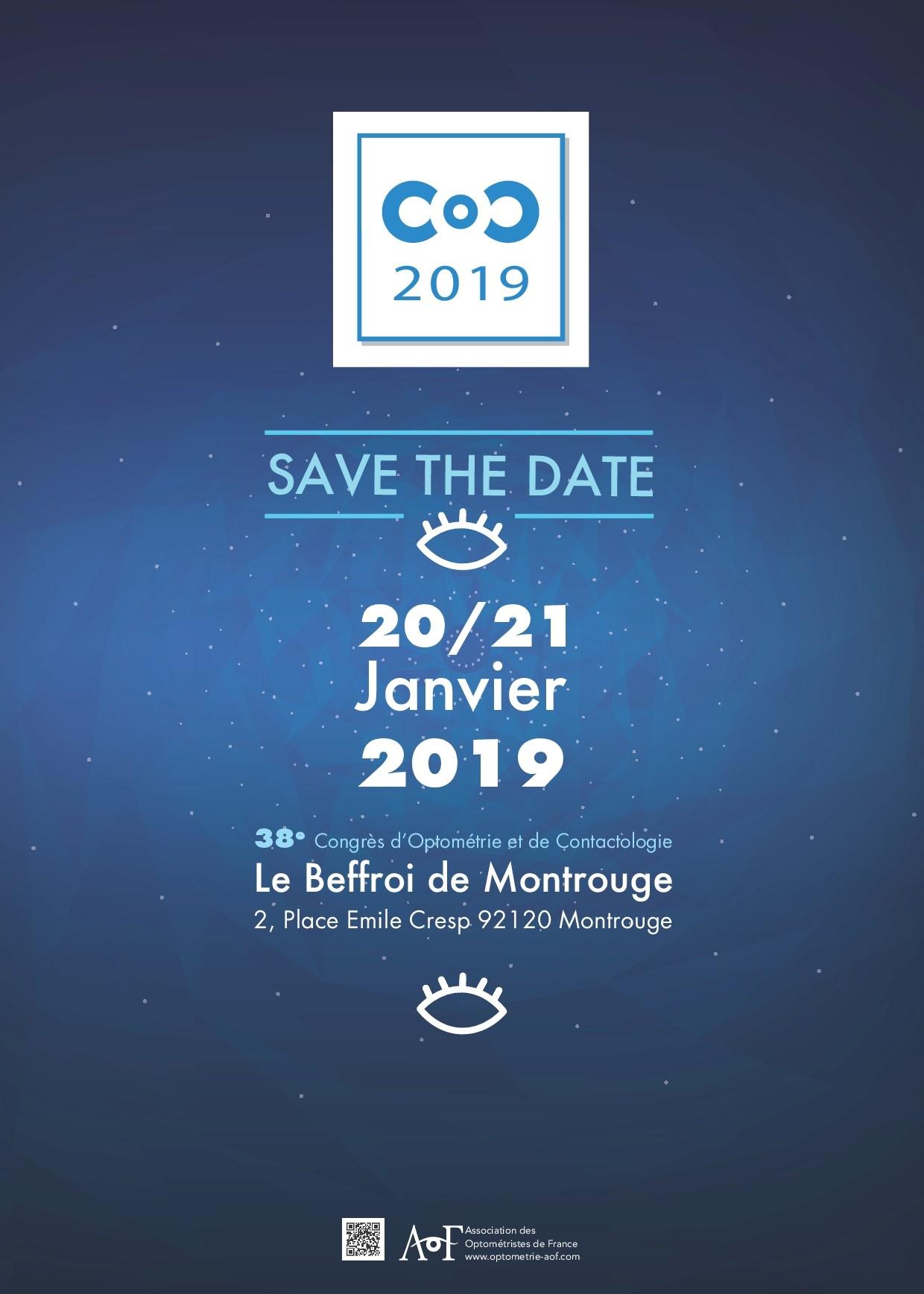 SAVE THE DATE - C.O.C. 2019 - OPTICIEN DE SANTE ET OPTOMÉTRISTE, ETES-VOUS PRÊTS ?