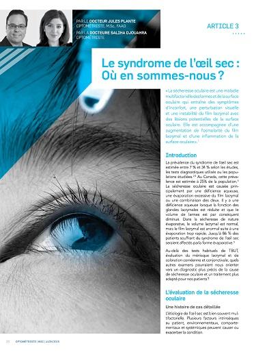 Le syndrome de l'œil sec: Où en sommes-nous?