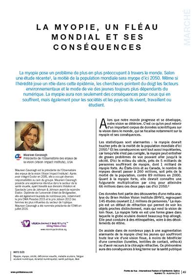 La Myopie, un fléau mondial et ses conséquences